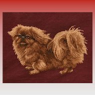 Wonderful Estate Vintage Pekingese Dog Needlepoint Picture.