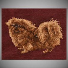 Wonderful Estate Vintage Pekingese Dog Needlepoint Picture.