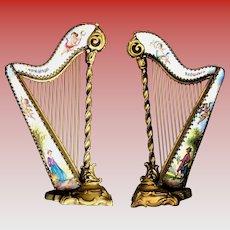 Antique Austrian Bronze and Enamel Miniature Harp ~  Four Winged Cherubs and Pastoral Scenes