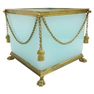 "Antique French Opaline Paw Foot Cachepot  ~ "" GILT SWAGS & TASSELS ""  ~   An Aqua Seafoam Opaline Masterpiece"