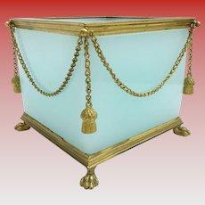 "Antique French Opaline Paw Foot Cachepot  ~ "" GILT SWAGS & TASSELS ""  ~   An Aqua Seafoam Opaline Masterpiece"