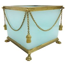"RAREST Antique French Aqua Seafoam Opaline Paw Foot Cachepot  ~ "" GILT SWAGS & TASSELS ""  ~   A Masterpiece Cachepot"