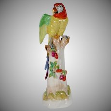 "BEAUTIFUL 24"" Dresden Porcelain Parrot"