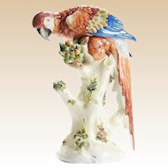 "17"" Antique Porcelain Parrot Perched on a Stump ~ MAGNIFICENT Applied Flowers"