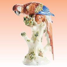 """17"""" Antique Porcelain Parrot Perched on a Stump ~ MAGNIFICENT Applied Flowers"""