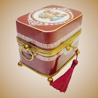 "7 ½""  Antique French Hand painted Opaline Figural Casket Hinged Box ~ Fabulous Double Handle Burgundy and White Opaline with Large Dore'  Bronze Ring Handle ~  Bronze Footed Base"