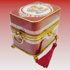 """7 ½"""" Antique French Hand painted Opaline Figural Casket Hinged Box ~ Fabulous Double Handle Burgundy and White Opaline with Large Dore'  Bronze Ring Handle ~  Bronze Footed Base"""