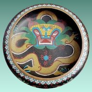 """RARE Cloisonné  Five Piece Toed Dragon Bowl Set ~ 12"""" Bowl and Four Matching Bowls ~ GREAT Dragon Bowl Set from My Treasure Vault"""