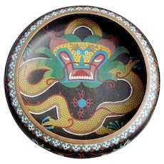 "RARE Cloisonné  Five Piece Toed Dragon Bowl Set ~ 12"" Bowl and Four Matching Bowls ~ GREAT Dragon Bowl Set from My Treasure Vault"