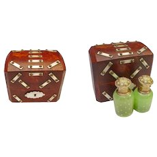 1880 French Burl Wood Scent Casket wBronze Studded Mother of Pearl Plaques ~ Fitted Interior has Two Fabulous Green Opaline Scent Bottles wGold Stars