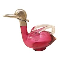 RARE Miniature Austrian  Red Glass Duck Decanter ~ STAMPED AUSTRIAN