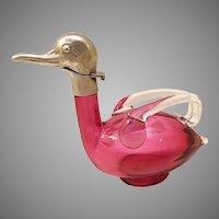 RARE Miniature Austrian  Red Glass Duck Decanter ~ STAMPED AUSTRIAN