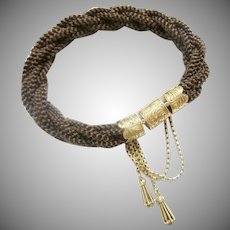 1830 14KARAT Mourning Woven Hair Bracelet W Engraved Mounts  ~ Two Tassels Charms~  Exquisite and Wonderful Hair Bracelet from My Treasure Vault.