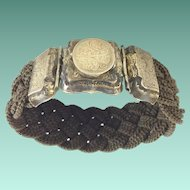 Beautiful 9KARAT 1840 Mourning Hair Locket Bracelet ~ Engraved L. A. Mitchell. ~ Charming Pattern  ~ Woven Hair  Masterpiece