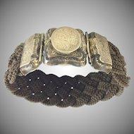 Beautiful 9KARAT 1840 Mourning Hair Locket Bracelet ~ Engraved L. A. Mitchell. ~ Charming Pattern  ~ Woven Hair  Masterpiece