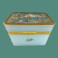 Antique Aqua Seafoam  Opaline Casket Hinged Box  ~  A Charming  Pastoral Scene