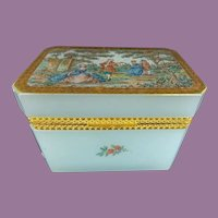 Exquisite Aqua Seafoam  Opaline Casket Hinged Box  ~ Pastoral Scene