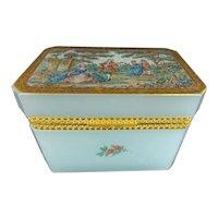 Stunning Antique Aqua Seafoam  Opaline Casket Hinged Box ~  A Charming  Pastoral Scene ~ A Beauty from My Treasure Vault