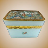 Stunning Antique Aqua Seafoam  Opaline Casket Hinged Box ~  A Charming  Pastoral Scene ~ A Beauty from My Treasure Vault