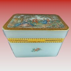 Stunning Antique Blue Opaline Casket Hinged Box ~  Rare  Seafoam Opaline  with  A Charming  Pastoral Scene ~ A Beauty from My Treasure Vault