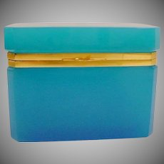 Exquisite Antique French Turquoise Opaline Casket Hinged Box with Smooth Gilt Mounts and Lift Clasp. ~ A Stunning Color and Size Opaline Casket Hinged Box