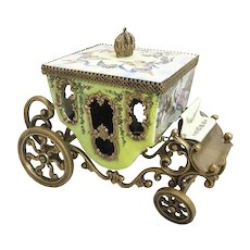 Antique Vienna Enamel Miniature Coach Winged Cherubs Holding Flowers with Blue Ribbons Circle the Top. ~  Crown Finial ~ Movable Wheels ~