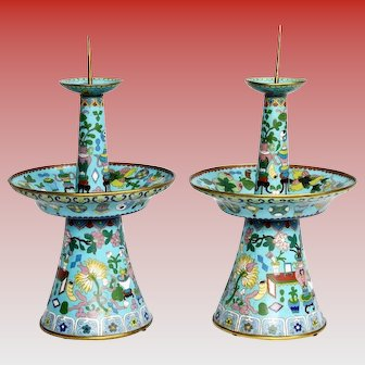 Grandest 1900 Chinese Cloisonné  Candlesticks ~ Awesome Blue Cloisonné  ~  Rare Style and Shape
