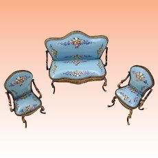 Exquisite  Blue  Miniature Austrian Vienna Enamel  Parlor Set ~ A Sofa and Two Arm Chairs ~  Yummy Blue Enamel with Pretty Pastel Flowers