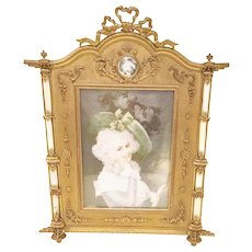 19C French  Bronze Mother of Pearl Frame with a Lovely Miniature ~ The Bow Top Frame has Mother of Pearl Half Columns and  Mother of Pearl Medallion