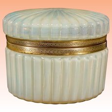 Antique  French Bulle de Savon Opaline Casket Hinged Box ~ Beautiful Opalescent Oval Ribbed Hinged Box with Fancy Mounts ~ A Magnificent Box From My Treasure Vault