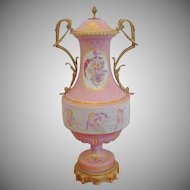 Glorious Antique Sevres Style Double Handle Porcelain Urn ~ Circle in Hand painted Putti s and Exquisite Gilding ~ Fabulous Bronze Double Handle and Bronze Mounts