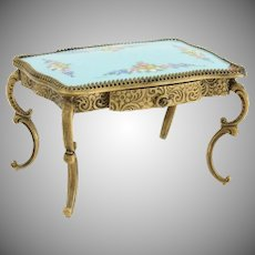 Pretty Blue Miniature Austrian Vienna Enamel Parlor Table ~ Precious Little Parlor Table with a Drawer ~  Yummy Blue with Pretty Pastel Flowers