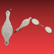 Exquisite Mother of Pearl  Lorgnette Chatelaine ~  Luscious Hand Carved Mother of Pearl Glowing with Color