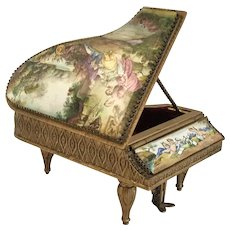 Magnificent Austrian Viennese Enamel Piano ~  Pastoral Scene  with  Lambs.  ~ Two Playful Winged Cherubs and Birds.