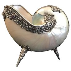 19C Jeweled Nautilus Shell with Exquisite Sterling Mounts and Footed Base