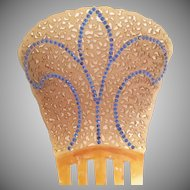RARE and WONDERFUL  Victorian Jeweled Hair Comb ~ Lovely Celluloid and Blue Gems
