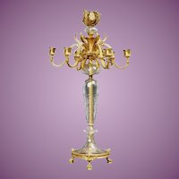 "NP 24"" Baccarat Bronze Crystal Seven Light Candelabrum ~ Ready for Electrical Wiring or  Candles ~ Thick Crystal Cut and Engraved ~  Hoof Footed Base"