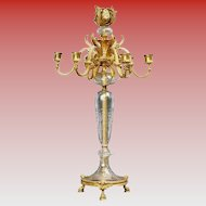 """24"""" French Bronze Crystal Seven Light Candelabrum ~ VF  Baccarat Quality ~ Ready for Electrical Wiring or  Candles ~ Thick Crystal Cut and Engraved ~ Figural Bronze Hoof Footed Base"""