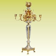 "24"" Baccarat Bronze Crystal Seven Light Candelabrum ~ Ready for Electrical Wiring or  Candles ~ Thick Crystal Cut and Engraved ~  Hoof Footed Base"