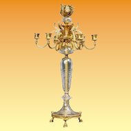 "24"" French Bronze Crystal Seven Light Candelabrum ~ VF  Baccarat Quality ~ Ready for Electrical Wiring or  Candles ~ Thick Crystal Cut and Engraved ~ Figural Bronze Hoof Footed Base"