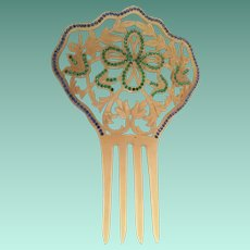 "7"" Victorian Jeweled Hair Com ~ Lovely Celluloid Comb with Green and Blue Gems"