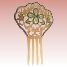 """7"""" Victorian Jeweled Hair Com ~ Lovely Celluloid Comb with Green and Blue Gems"""