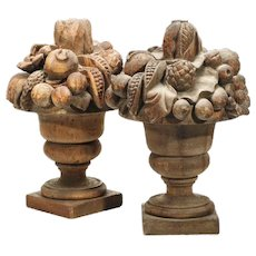 """Antique 23"""" PAIR Carved Wood Fruit Urns ~ Overflowing with Spilling Fruit ~ Magnificent and Exquisite Wood Carved Urns from My Treasure Vault"""