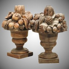 "Antique 23"" PAIR Carved Wood Fruit Urns ~ Overflowing with Spilling Fruit ~ Magnificent and Exquisite Wood Carved Urns from My Treasure Vault"