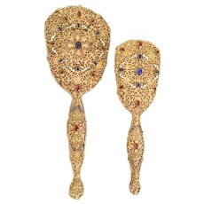 Beautiful Czech or Austrian Jeweled Enamel Filigree Mirror and Brush ~ Extra Large  Mirror and Brush  ~  Each Piece with Nice Gems