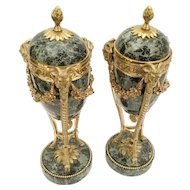 PAIR Antique French Variegated Green Marble and Bronze Ram Heads, Garland and Tri-footed Urns ~ Marble and Beautiful Gilt Bronze With Reversible Caps Converting To Candlesticks