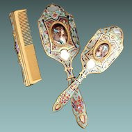 Antique French Champleve  Dresser  Vanity Set ~  Big  Hand Mirror and Hair Brush Each have Magnificent French Kiln-fired Enamel Portrait