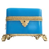 1860 French Double Handles Blue Opaline Casket Hinged Box ~  Exquisite Gilt Mounts and Footed Base ~ Amazing Rich Blue Opaline