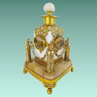 "Palais Royal Opaline ""Eglomise"" Perfume in Ornate Holder ~ A BEAUTY from My Treasure Vault."