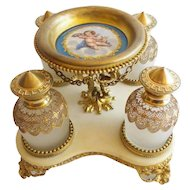Palais Royal Scent Caddy with Four of the Grandest Scent Bottles ~ Four BIG Bottles are Wrapped in Gilt Ormolu Lace and Enamel Tops Resting in an Awesome Gilt Holder ~Gilt Trinket Holder has PUTTI Porcelain Plaque